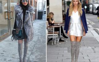 С чем носить модные серые ботфорты: советы стилиста