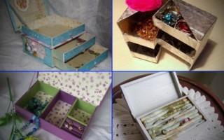 Интересные идеи для создания из картона шкатулки для мелочей и украшений