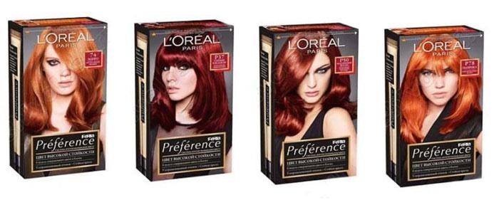 Палитра красок для волос «Лореаль Преферанс»