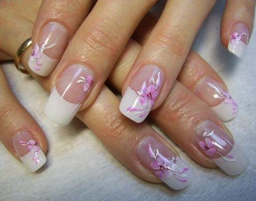 фото красивый френч на ногтях с рисунком