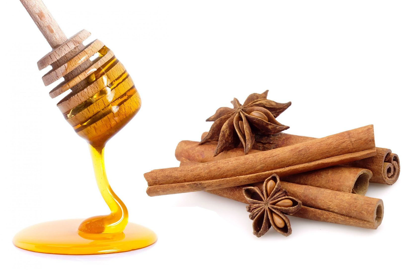 жидкий мед и палочки корицы