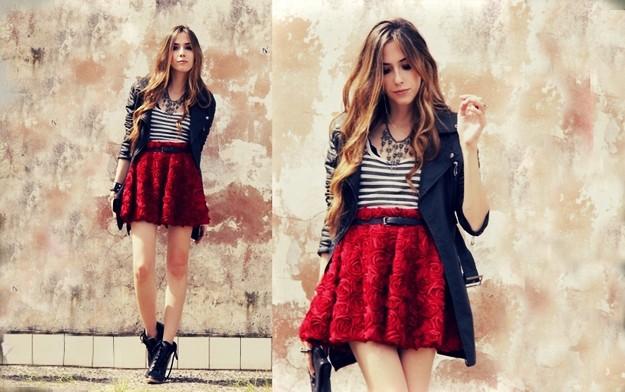 Как носить красную юбку