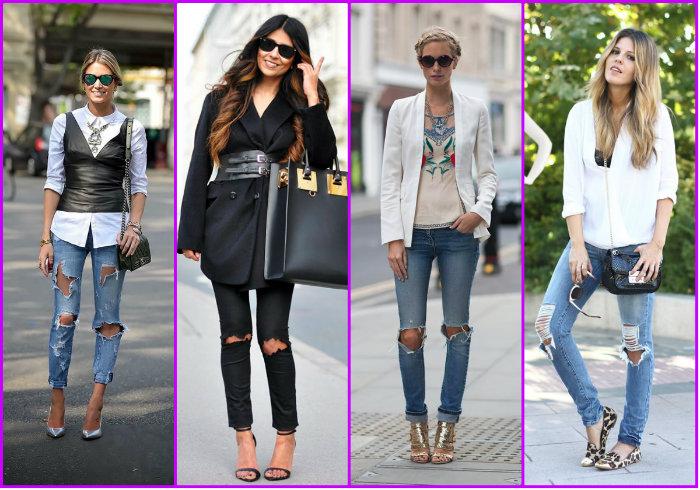 Варианты рваных женских брюк