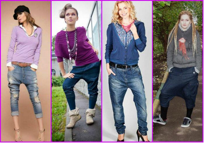Варианты висячих женских брюк
