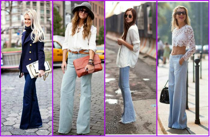 Варианты женских брюк клеш
