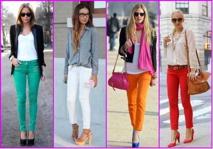 Варианты женских брюк разных цветов