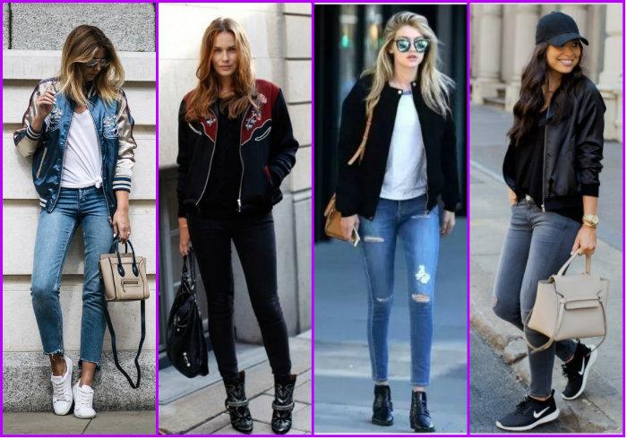 Варианты женских брюк в сочетании с курткой бомбер