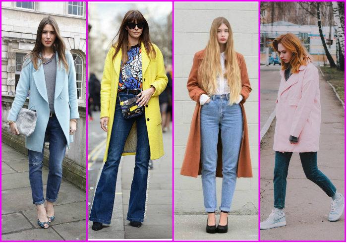 Варианты женских брюк в сочетании с пальто