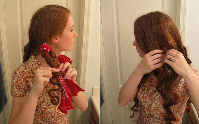 Завивка волос банданой