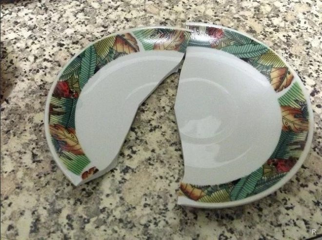 тарелка разбилась на 2 части