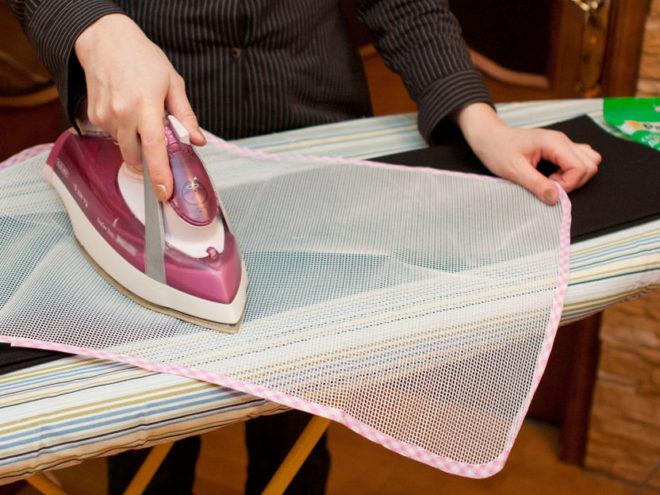 использование сетки для глажения