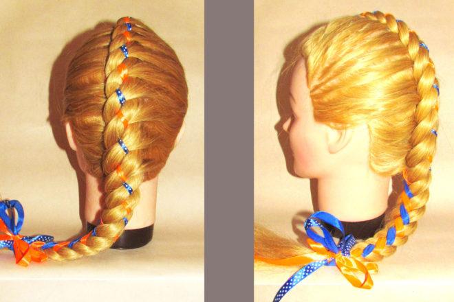 коса из 4 прядей с лентой